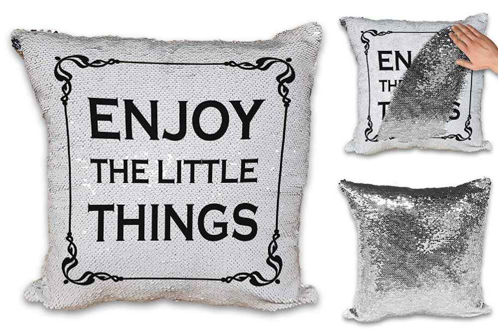 Enjoy The Little Things Sequin Reveal Magic Cushion Cover